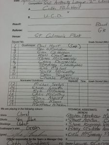 Cobh teamsheet apr 17